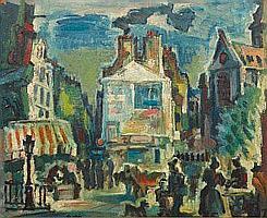 FLORES Pedro (1897-1967) La rue Mouffetard, Paris