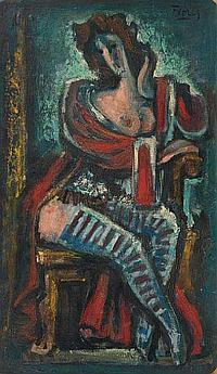 FLORES Pedro (1897-1967) La femme au bas rayés