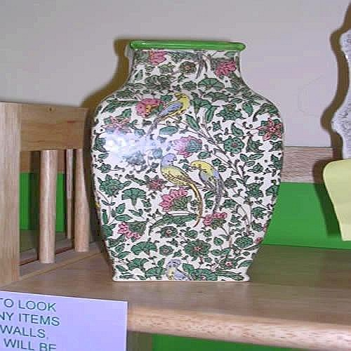 Pair Early Royal Doulton Persian Pattern D 3550 Vases 8in