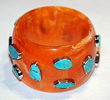 Turquoise vintage bangle bracelet