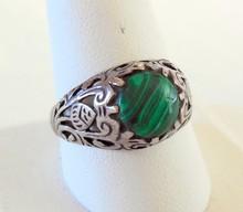 Sterling filigree vintage malachite ring