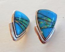 Sterling estate turquoise opal earrings
