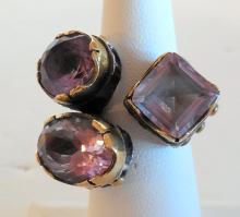 Custom estate amethyst sterling ring
