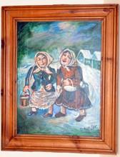Signed oil Burliuk/vintage estate painting
