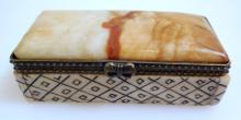 Bone scrimshaw box-gemstone pill box