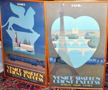Matched travel posters/Paris- Venice Orient Express