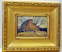 Oil painting vintage Lever signed French