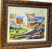 Lever signed watercolor fishing village France