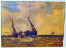 19th c signed oil nautical Dutch pilot boat