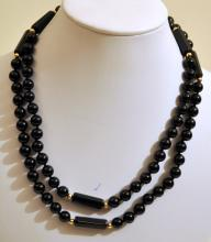 Vintage black onyx bead necklace