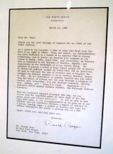 Reagan signed letter/White House stationary