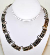 Vintage sterling Mexican necklace/ abalone inlaid