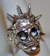 Sterling skull ring /spiked head