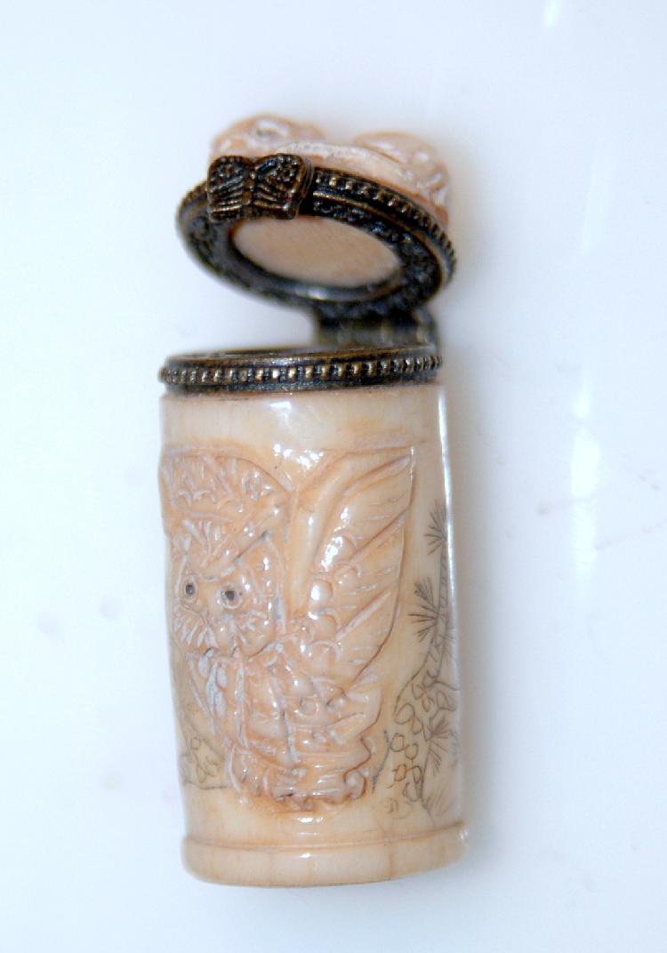 Bone Ornate Carved Miniature Owl Pill Box