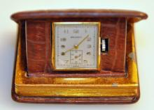 Travel clock/watch vintage with alligtor case-Book of Time