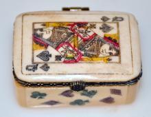 Bone polychromed box/Queen of Spades
