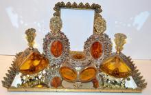 Vintage vanity set/gold gilded ornate perfumes +