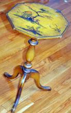 Hexagon vintage painted table/Japanese scene