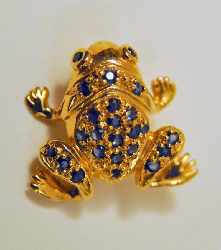 Vermeil sapphire frog pin