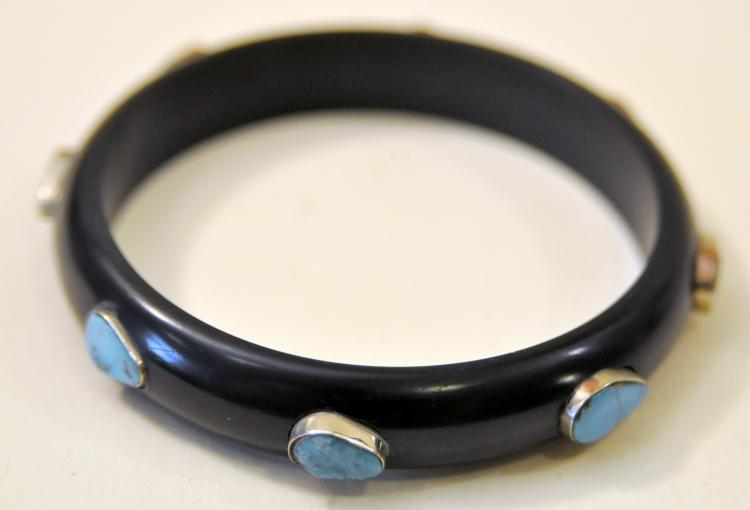 Deco black turquoise bangle