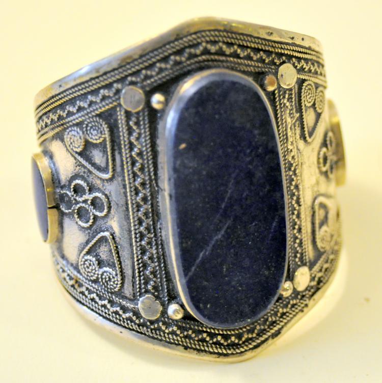 Lapis cuff bracelet gold flecks