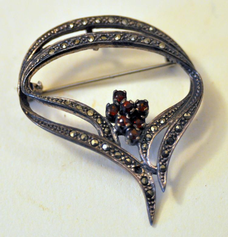Garnet marcasite pin sterling
