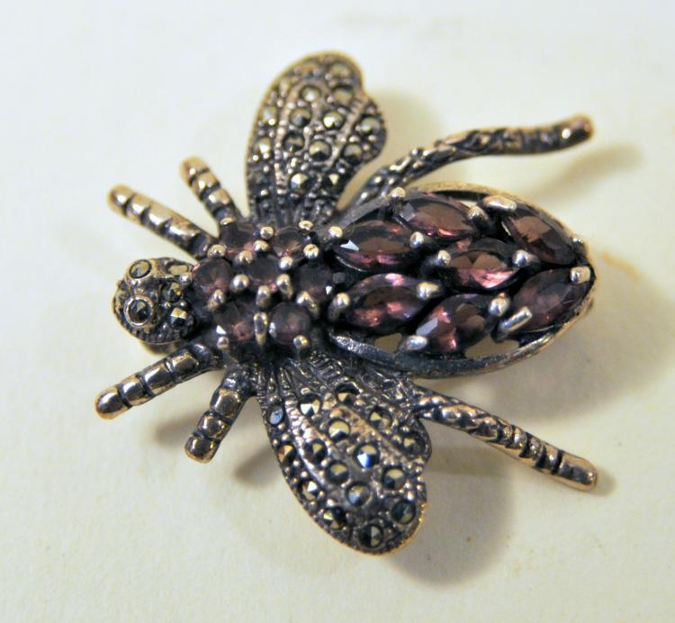 Sterling amethyst bee marcasite pin