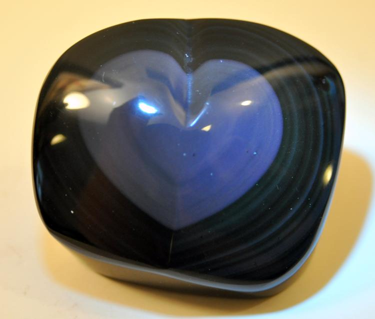 Heart sheen obsidian polished