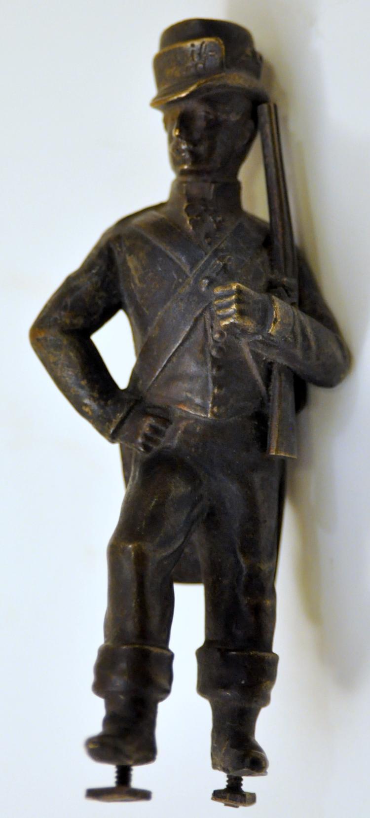 Vintage bronze soldier statue