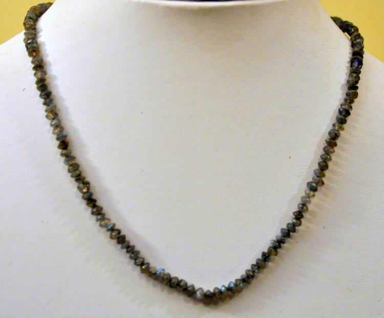 Labradorite necklace beads rondele cut