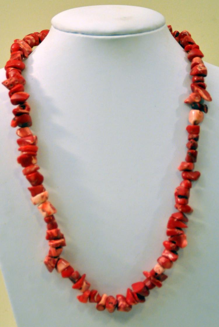 Red coral necklace beaded