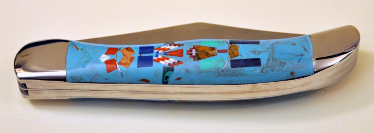 Turquoise custom inlaid pocketknife