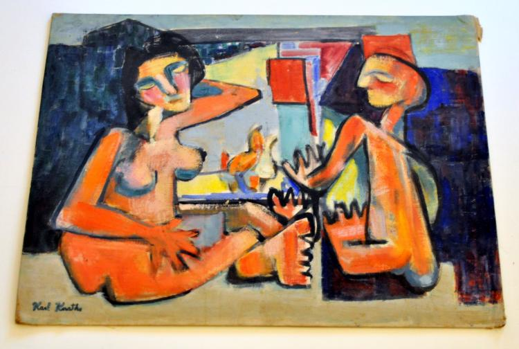 Oil Karl Knaths 1949 titled Conversation