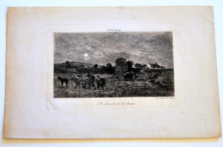 Etching signed Daubigny 1870