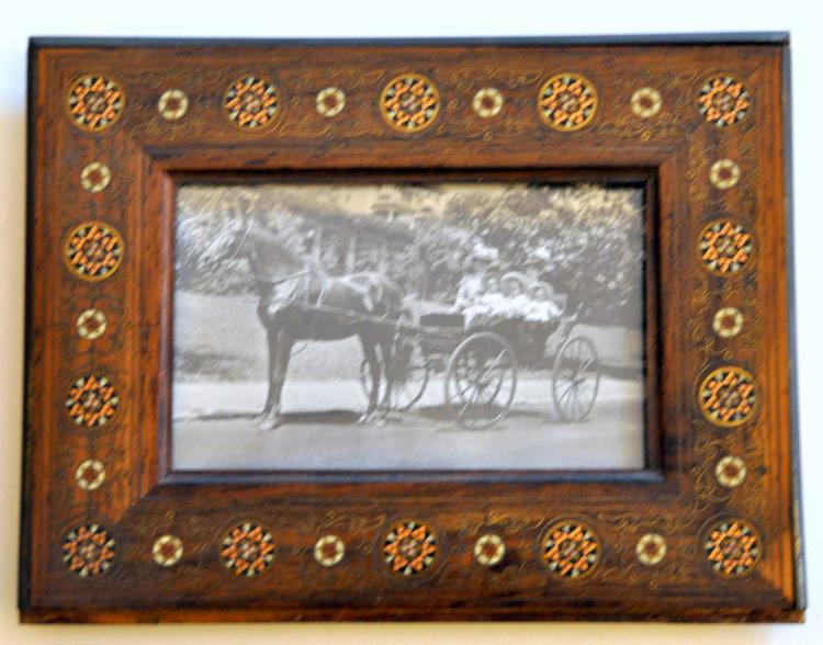 Antique horse photo inlaid frame