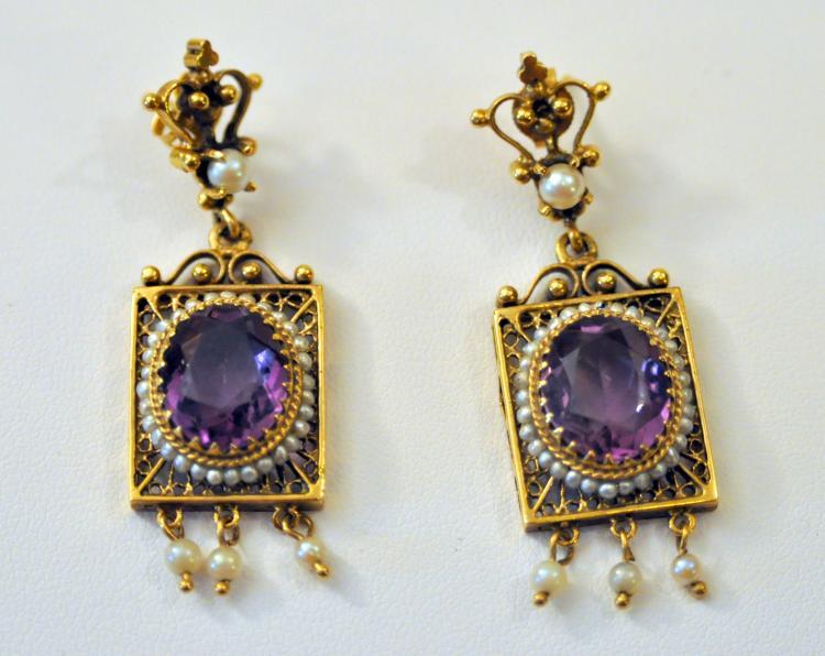 14k amethyst vintage earrings