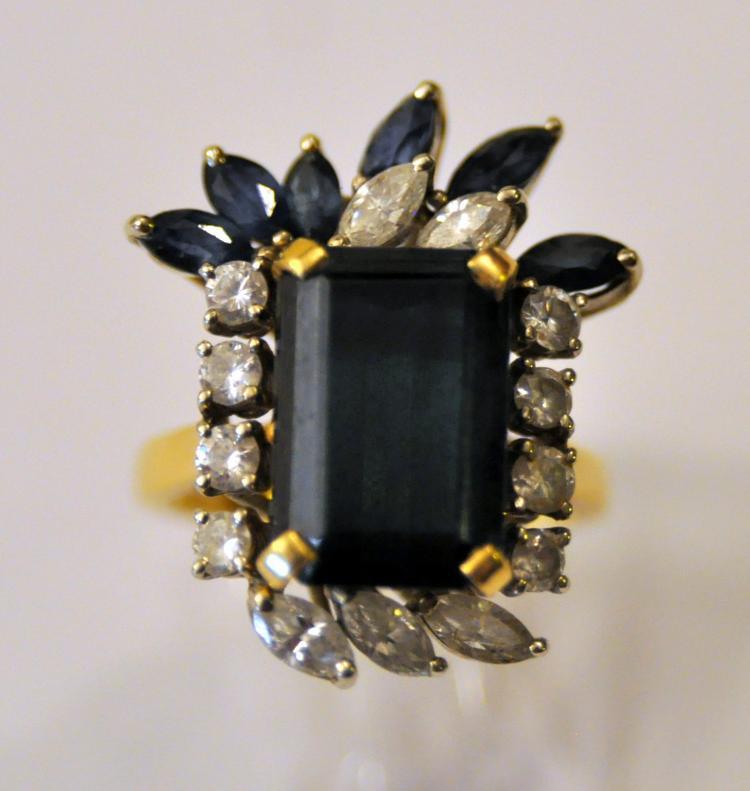 18k vintage sapphire ring diamonds