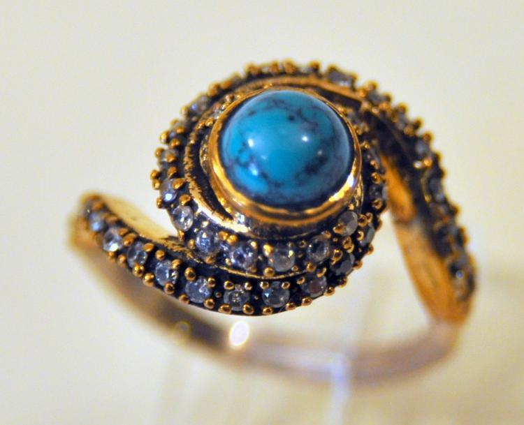 Vermeil turquoise gemstone ring