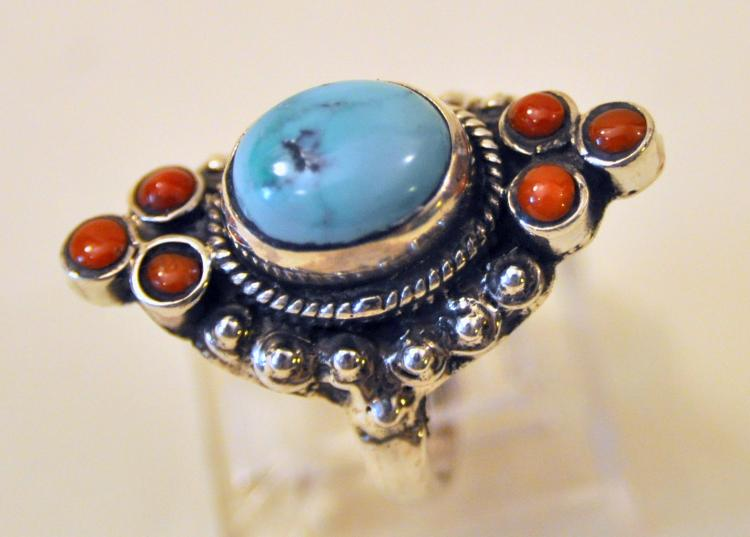 Turquoise sterling ring coral side stones