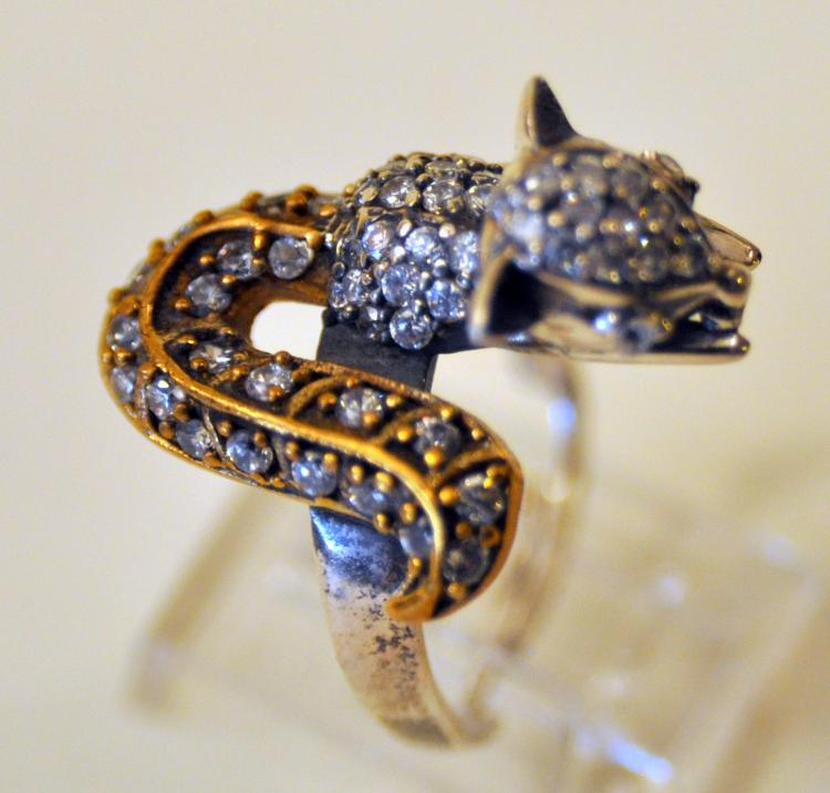 Sterling squirrel ring stones set into ring