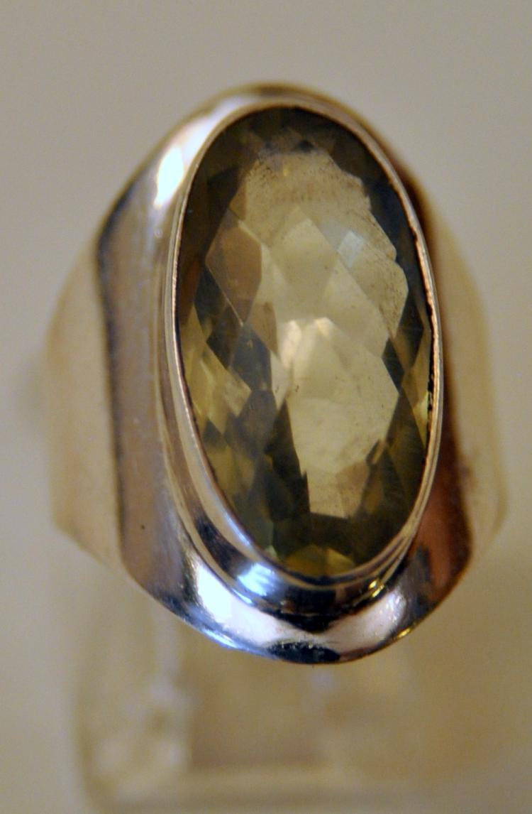 Lemon quartz sterling ring