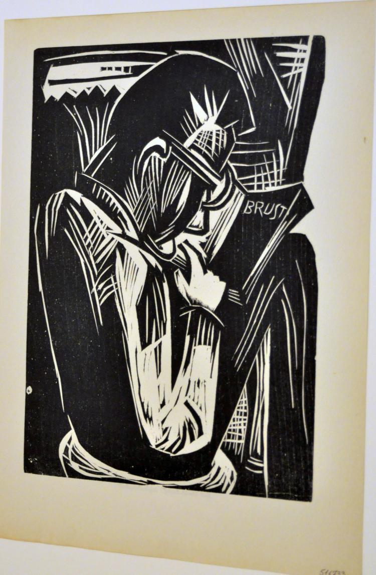 Woodcut Man Reading Schmidt -Rottluff