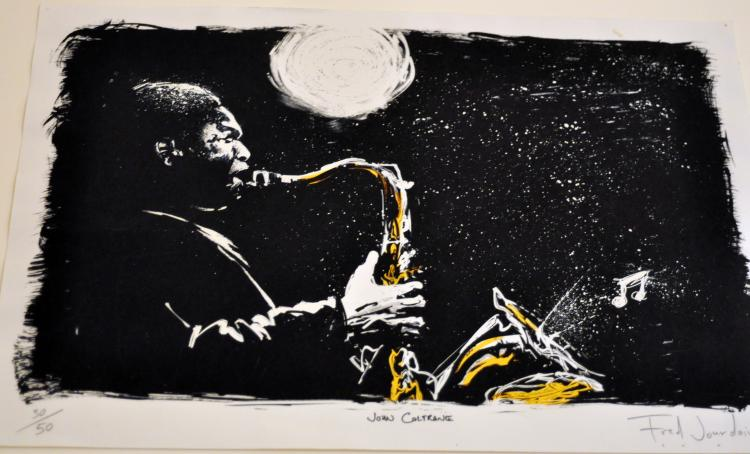 John Coltrane litho signed Jourdain