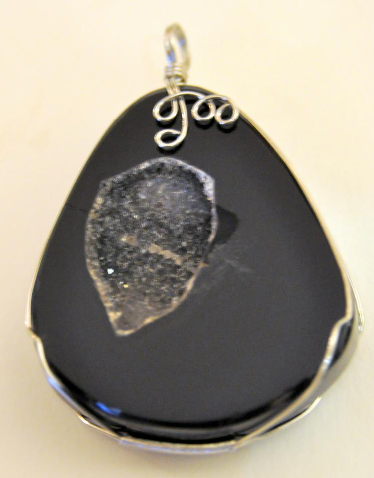 Agate druzy pendant custom one of a kind