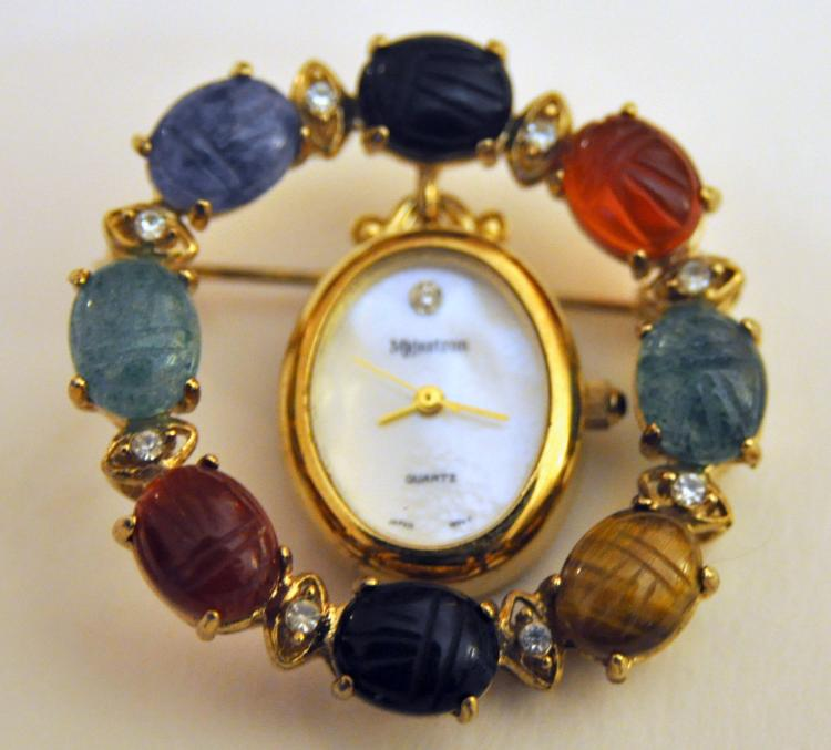 Scarab gemstone pendant vintage watch