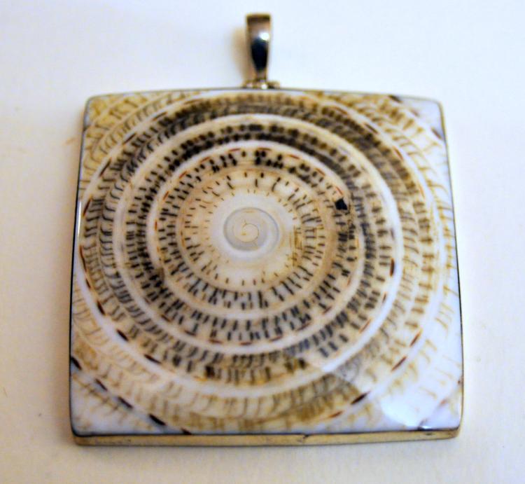 Shell sterling square pendant