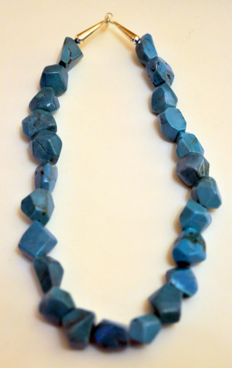 Sterling turquoise nugget necklace