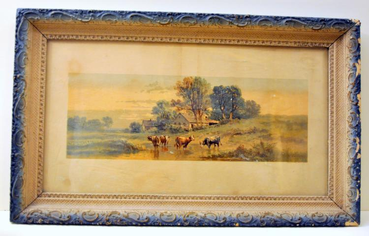 Antique cow print signed