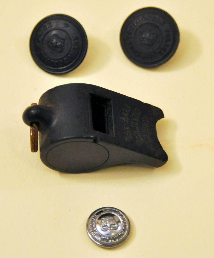 Vintage Police buttons whistle