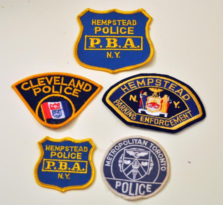 5 police patch badges vintage